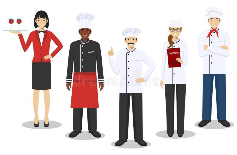 Концепция команды ресторана Характеры группы людей: шеф-повар, кашевары, сомелье и официантка в различной форме и иллюстрация вектора