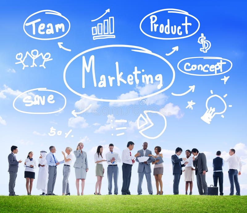Концепция коммерчески рекламы дела команды маркетинговой стратегии стоковая фотография rf
