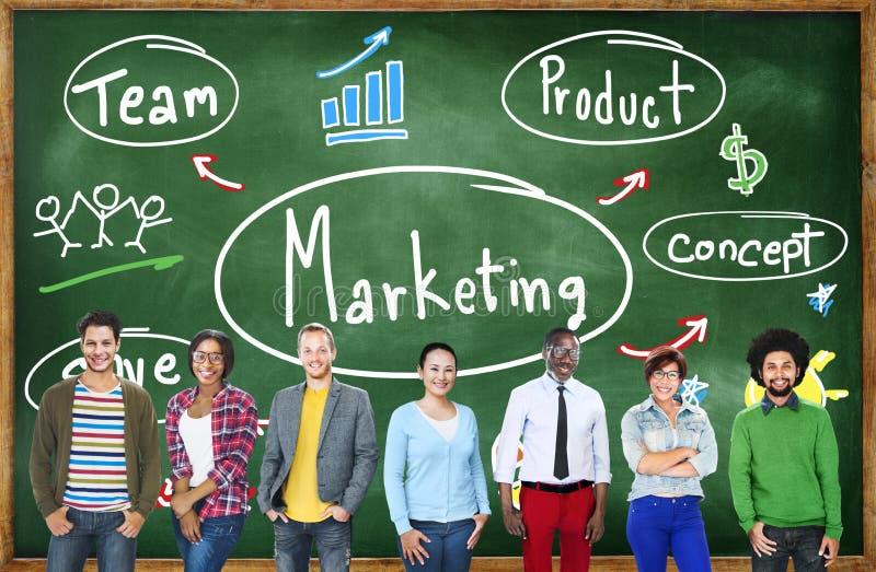 Концепция коммерчески рекламы дела команды маркетинговой стратегии стоковые фото