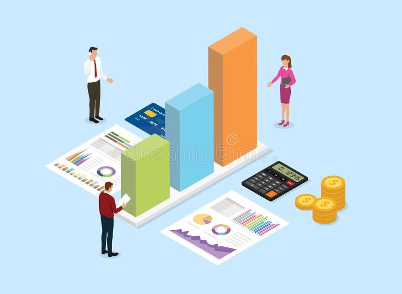 Концепция компании финансового анализа с людьми команды анализирует данные от диаграммы и диаграммы с голубой предпосылкой и равн иллюстрация вектора