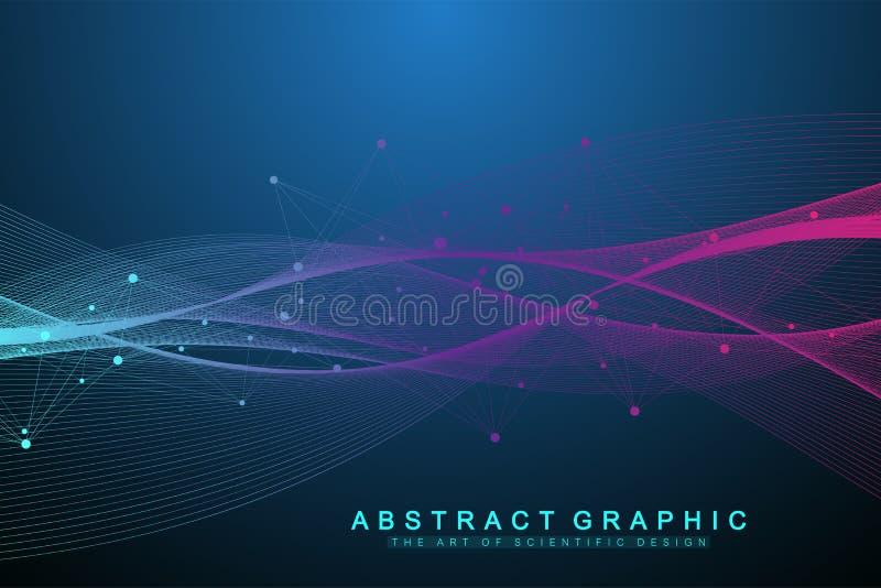 Концепция компьютерной технологии Кванта Глубокий уча искусственный интеллект Большое визуализирование алгоритмов данных для иллюстрация вектора