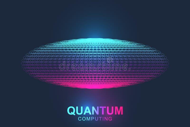 Концепция компьютерной технологии Кванта Предпосылка взрыва сферы Глубокий уча искусственный интеллект Большие данные иллюстрация вектора