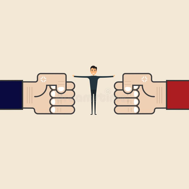 Концепция конкуренции, посредничества или рефери Бизнесмен и голубое, re иллюстрация штока