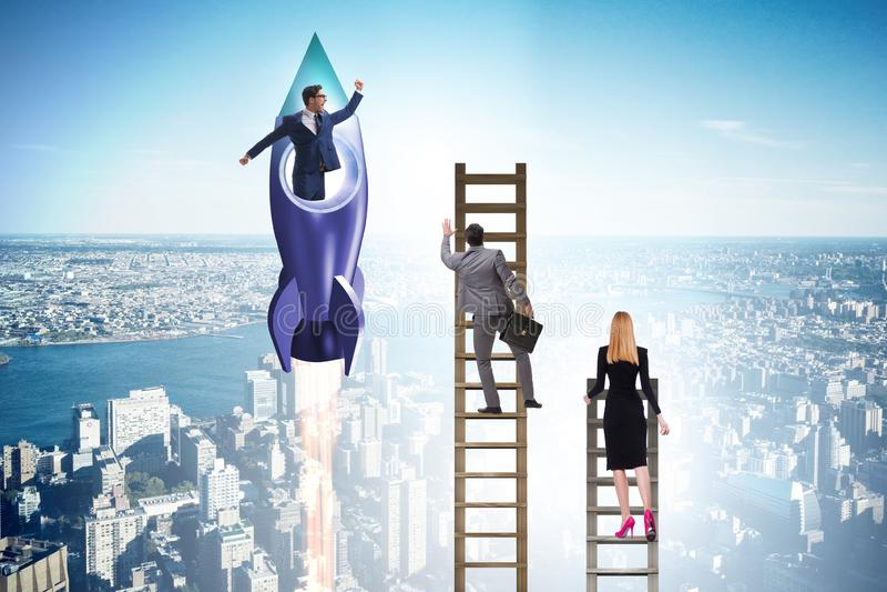 Концепция конкуренции с бизнесменом на ракете стоковые фотографии rf