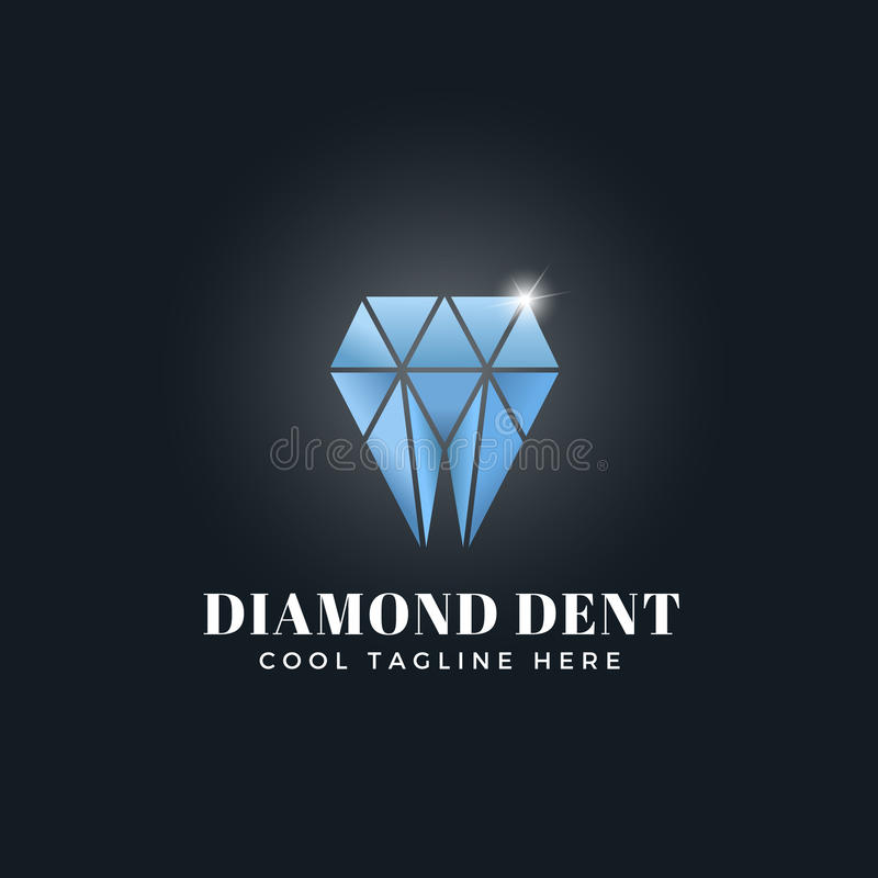 Концепция конспекта вдавленного места диаманта Эмблема вектора, знак или шаблон логотипа Символ зуба форменный сияющий гениальный иллюстрация штока