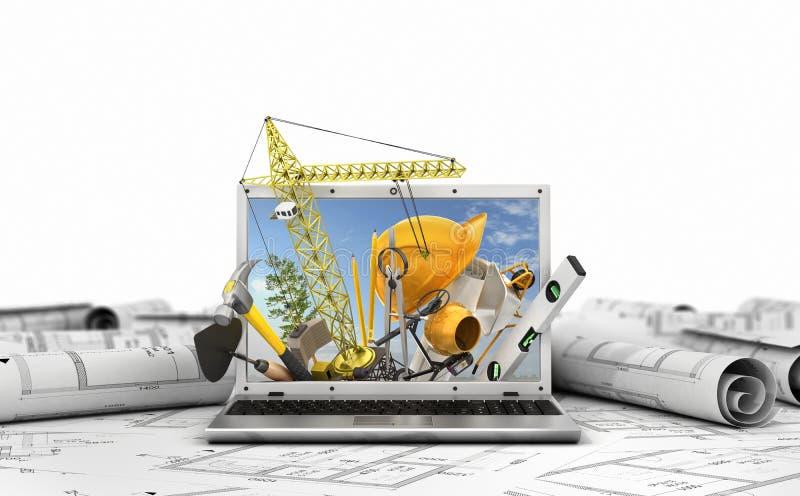Концепция конструкции Инструменты здания в экране компьтер-книжки 3d бесплатная иллюстрация