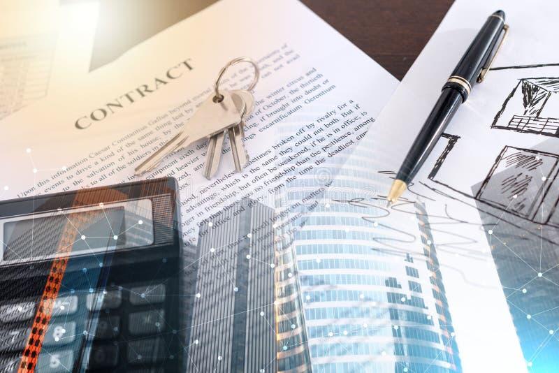 Концепция контракта недвижимости; множественная выдержка стоковые фотографии rf