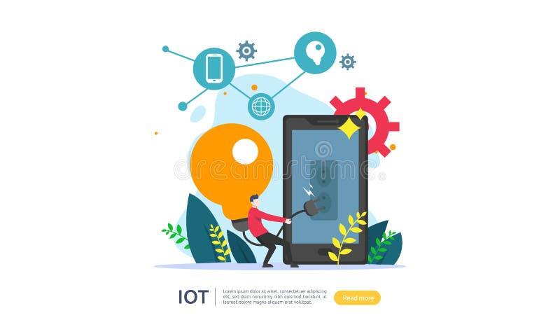 Концепция контроля дома IOT умная для промышленные 4 технология света шарика удаленная на приложении экрана смартфона интернета в иллюстрация вектора