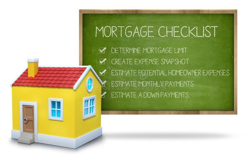 Концепция контрольного списока ипотеки на классн классном с 3d стоковое фото