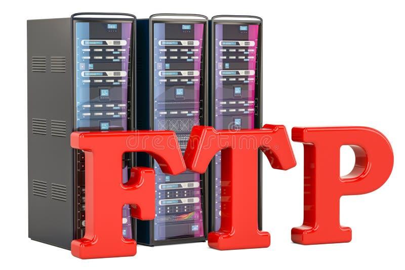Концепция концепции сервера FTP перевод 3d иллюстрация вектора