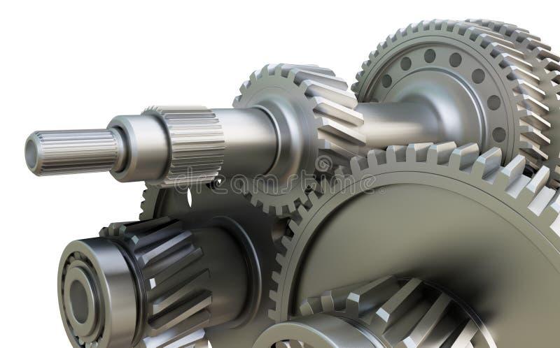 Концепция коробки передач Шестерни, валы и подшипники металла иллюстрация вектора