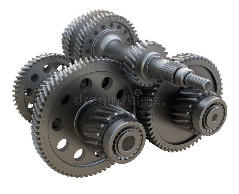 Концепция коробки передач Шестерни, валы и подшипники металла иллюстрация штока