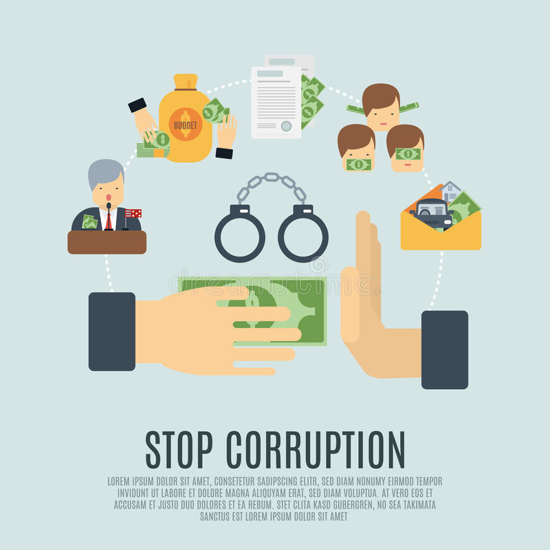 Концепция коррупции плоская иллюстрация штока