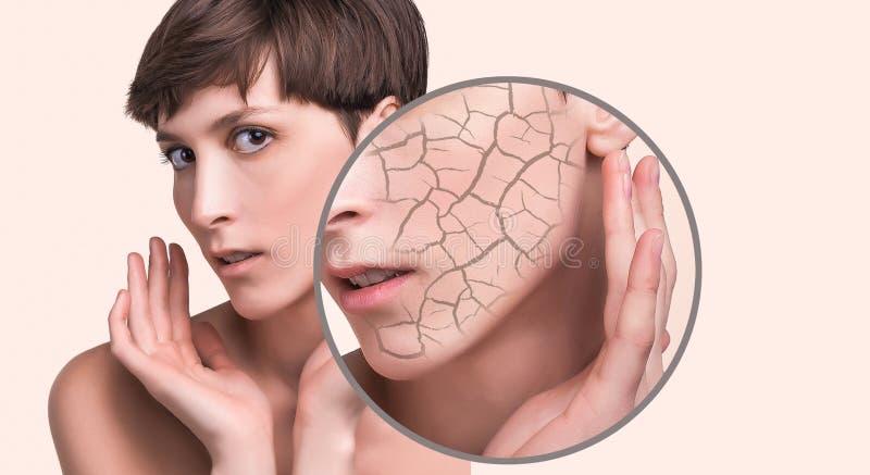 Концепция косметических влияний, обработки и заботы кожи стоковые изображения