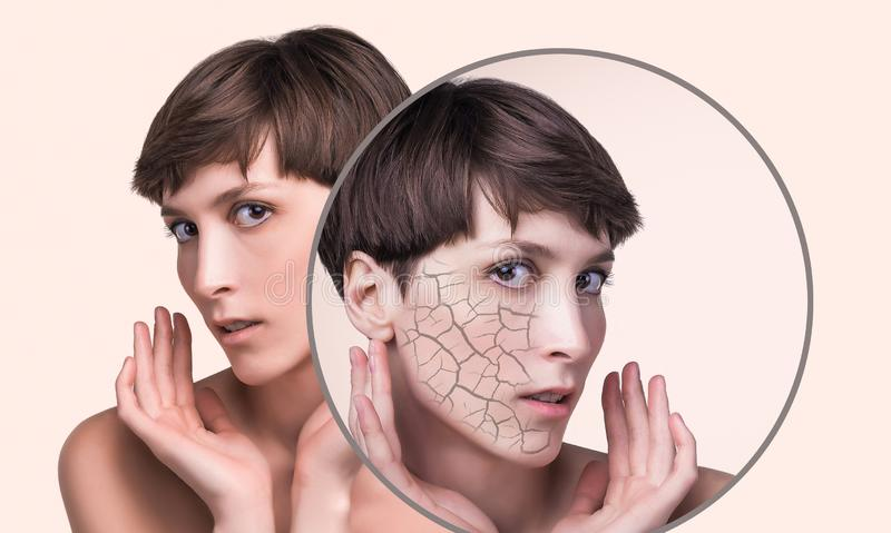 Концепция косметических влияний, обработки и заботы кожи стоковые фотографии rf