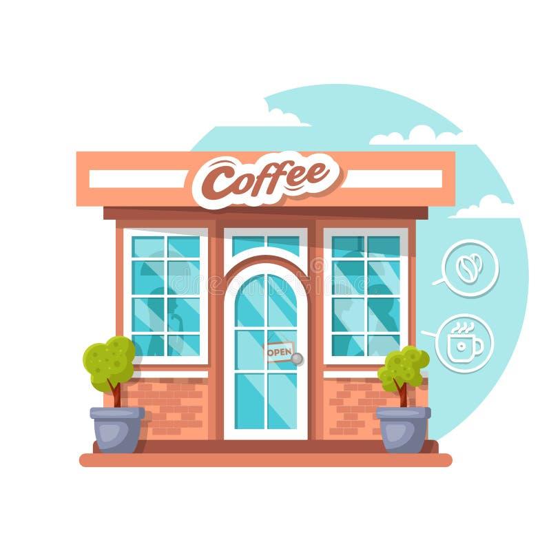 Концепция кофейни Плоское общественное здание города дизайна с внешней витриной магазина и различными элементами дизайна интерьер стоковые фотографии rf