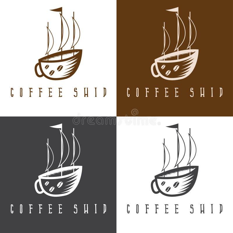 Концепция кофейной чашки корабля и бесплатная иллюстрация