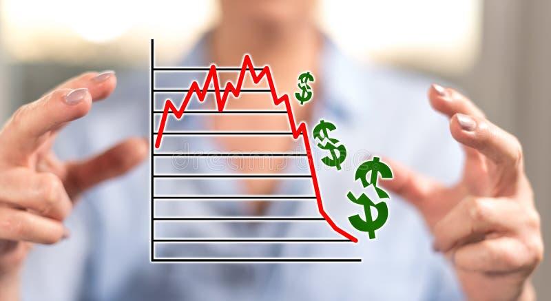 Концепция краха фондовой биржи стоковое изображение