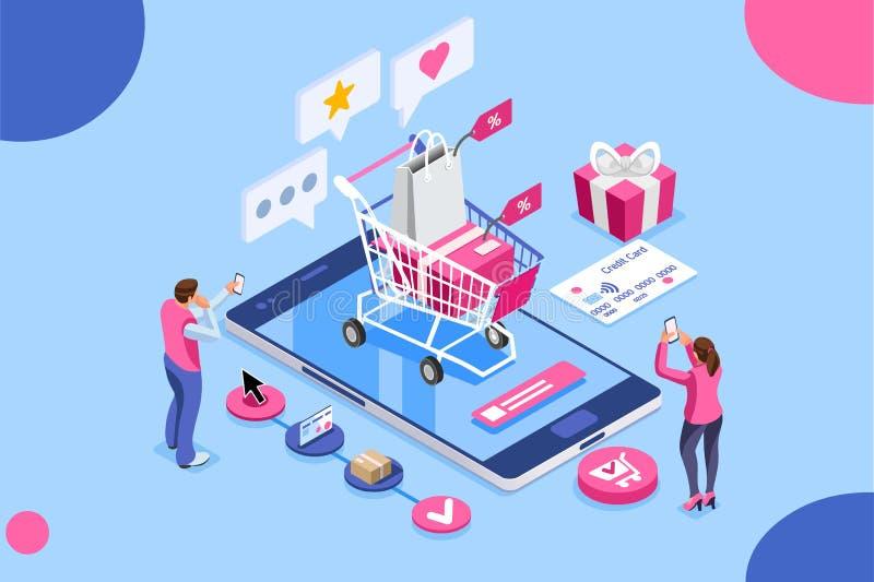 Концепция кредитной карточки заботы клиента покупок заказа онлайн бесплатная иллюстрация