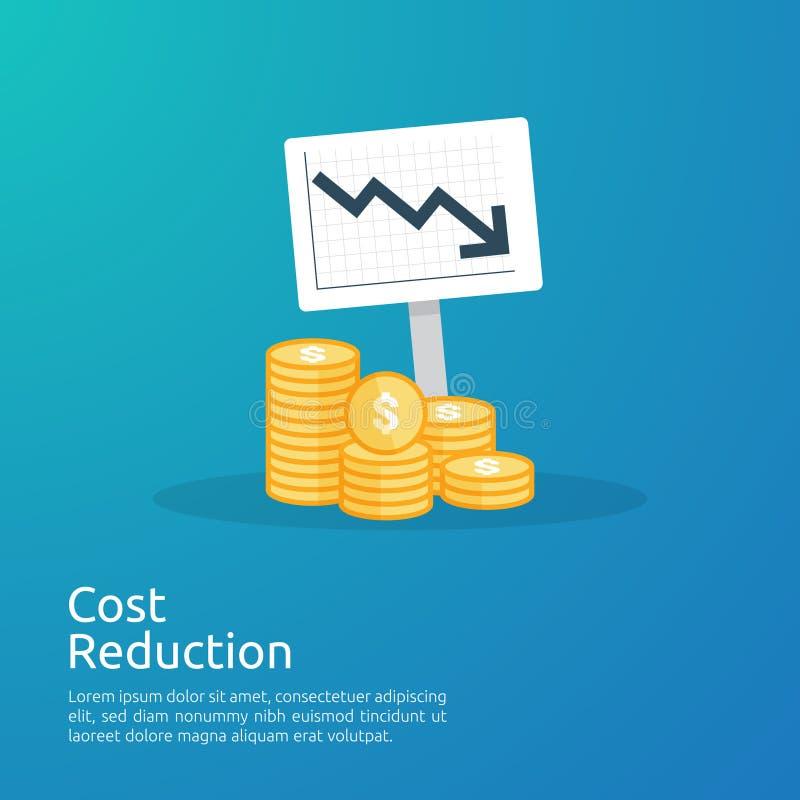 концепция кризиса дела деньги падают вниз с символом уменшения стрелки экономика протягивая поднимая падение, глобальное потерянн иллюстрация штока