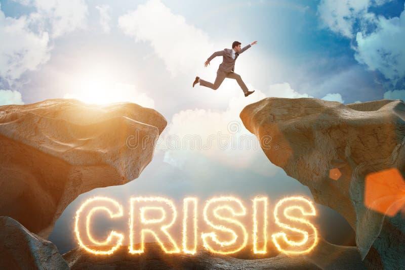 Концепция кризиса с бизнесменом в концепции дела стоковое фото rf