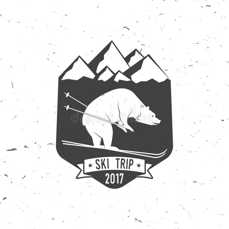 Концепция клуба лыжи с медведем бесплатная иллюстрация