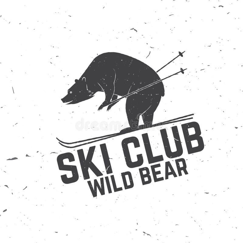 Концепция клуба лыжи с медведем иллюстрация вектора