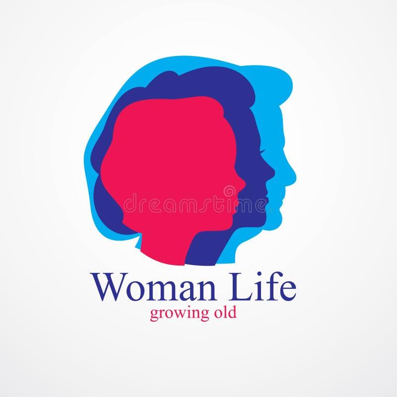 Концепция лет возраста жизни женщины, время жизни, периоды и цикл жизни, растя старый, созревания и стареть, одного поколения и бесплатная иллюстрация