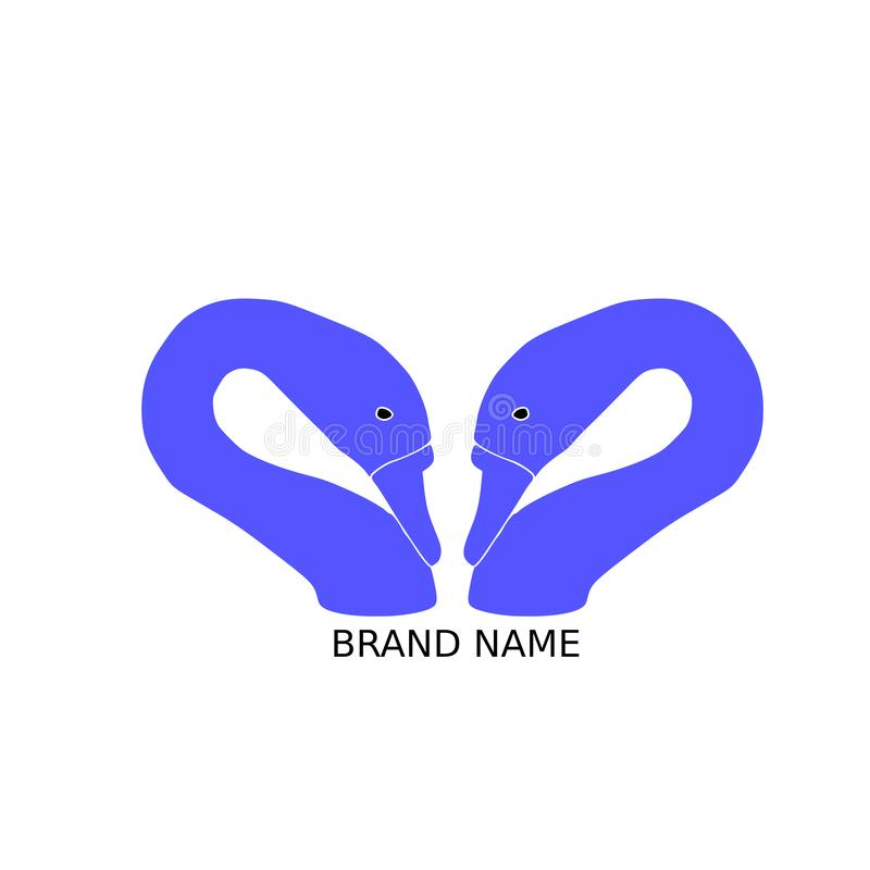 концепция логотипа бренда 2 лебедей главная иллюстрация штока