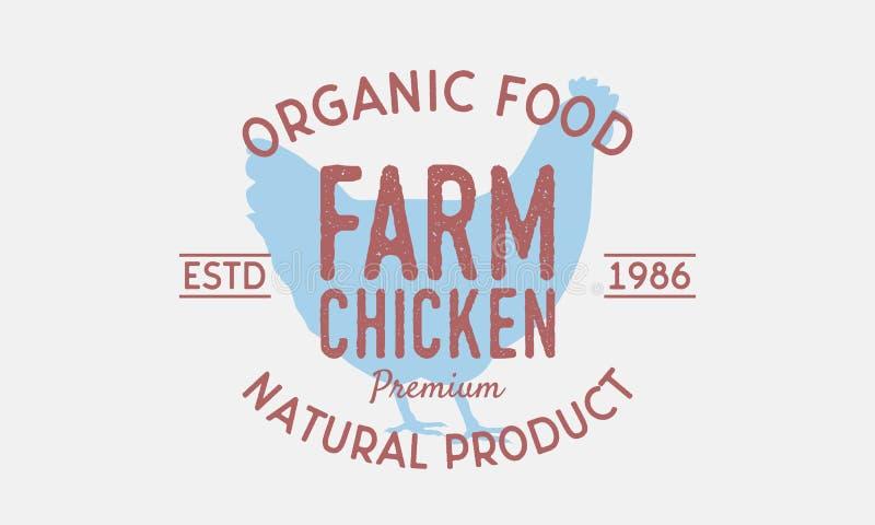 Концепция логотипа цыпленка фермы винтажная Стиль силуэта цыпленка ультрамодный ретро сбор винограда распаровщиков плаката califo бесплатная иллюстрация