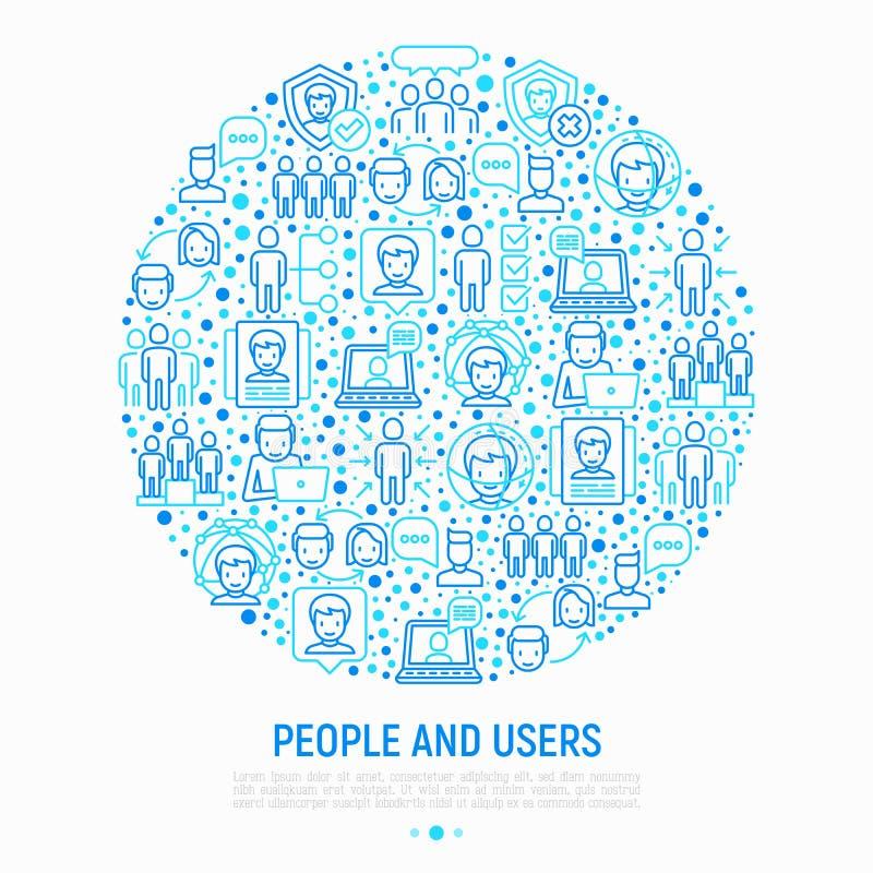 Концепция людей и потребителей в круге бесплатная иллюстрация