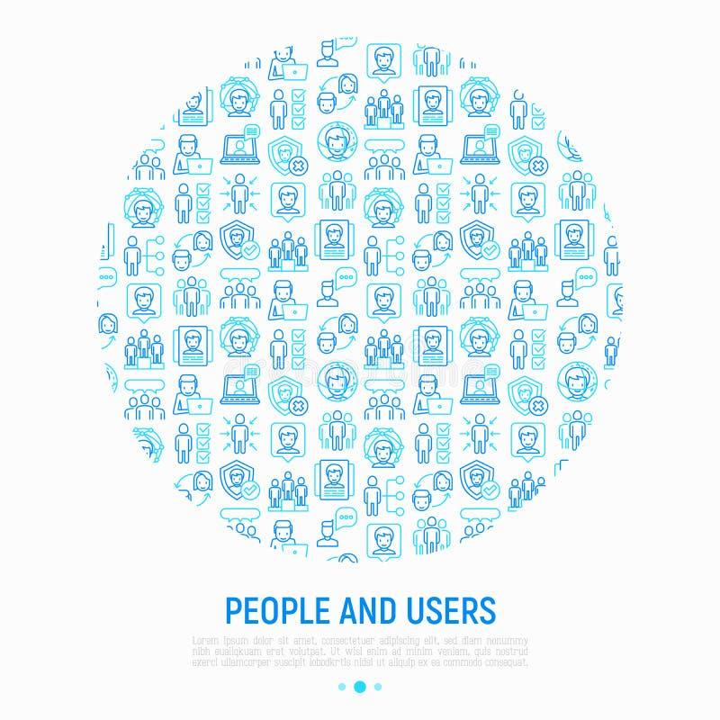 Концепция людей и потребителей в круге иллюстрация штока