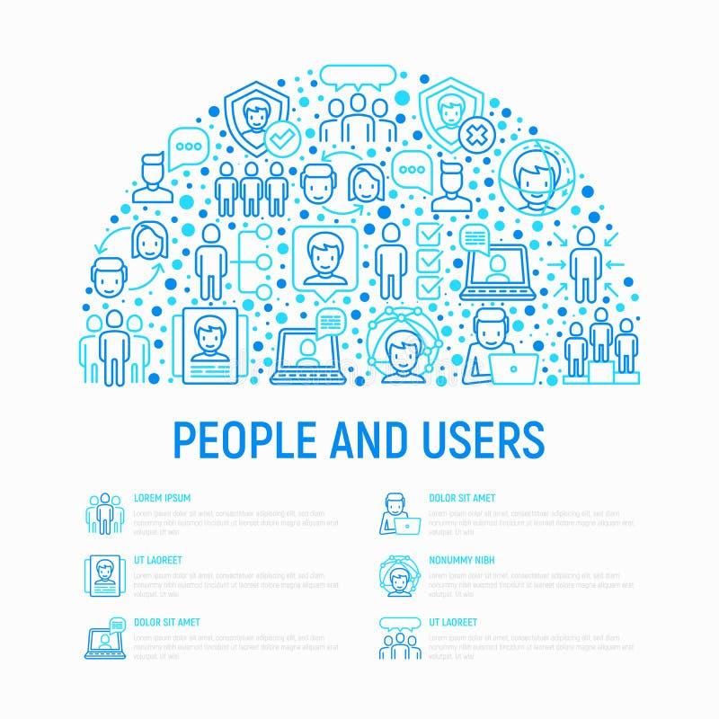 Концепция людей и потребителей в полкруга иллюстрация вектора