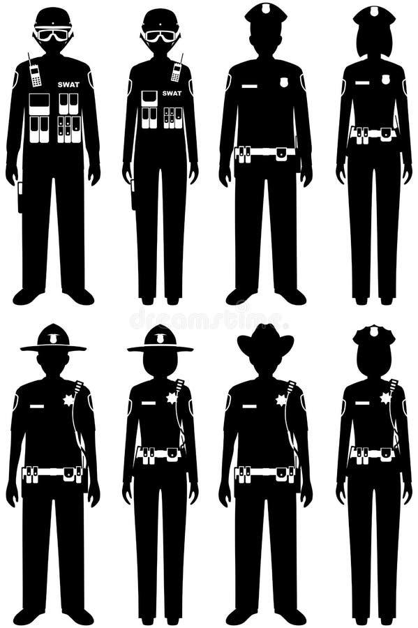 Концепция людей полиции Комплект различных силуэтов офицера, полицейския, женщина-полицейского и шерифа СВАТ в плоском стиле даль бесплатная иллюстрация