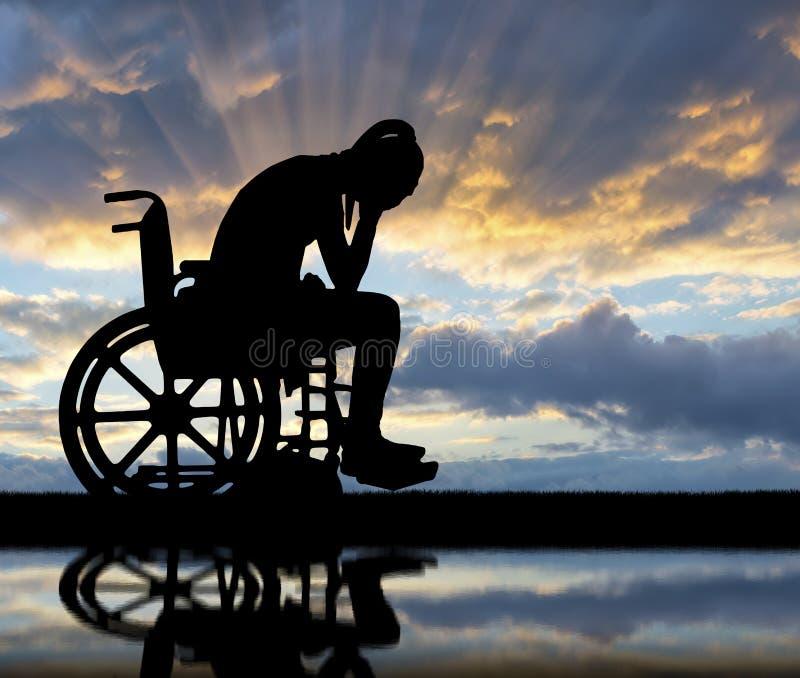 Концепция людей с инвалидностью испытывая печаль и тоскливость стоковая фотография rf