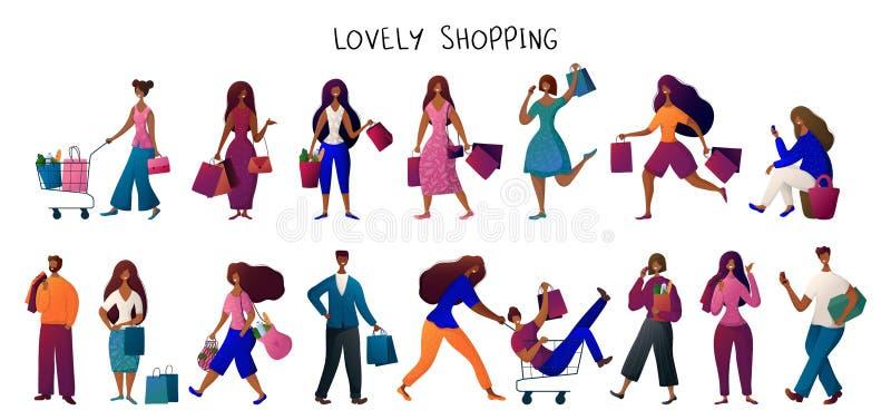 Концепция людей ходя по магазинам иллюстрация вектора
