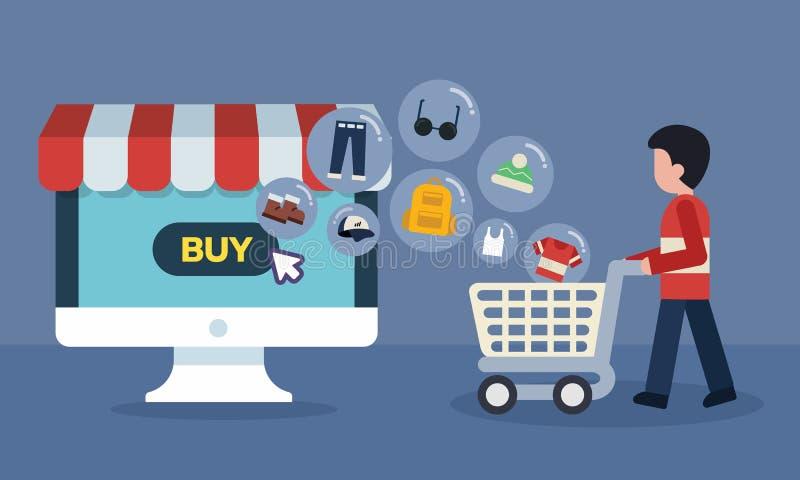 Концепция магазина компьютера онлайн Ходить по магазинам онлайн с переходом значков товаров иллюстрация вектора