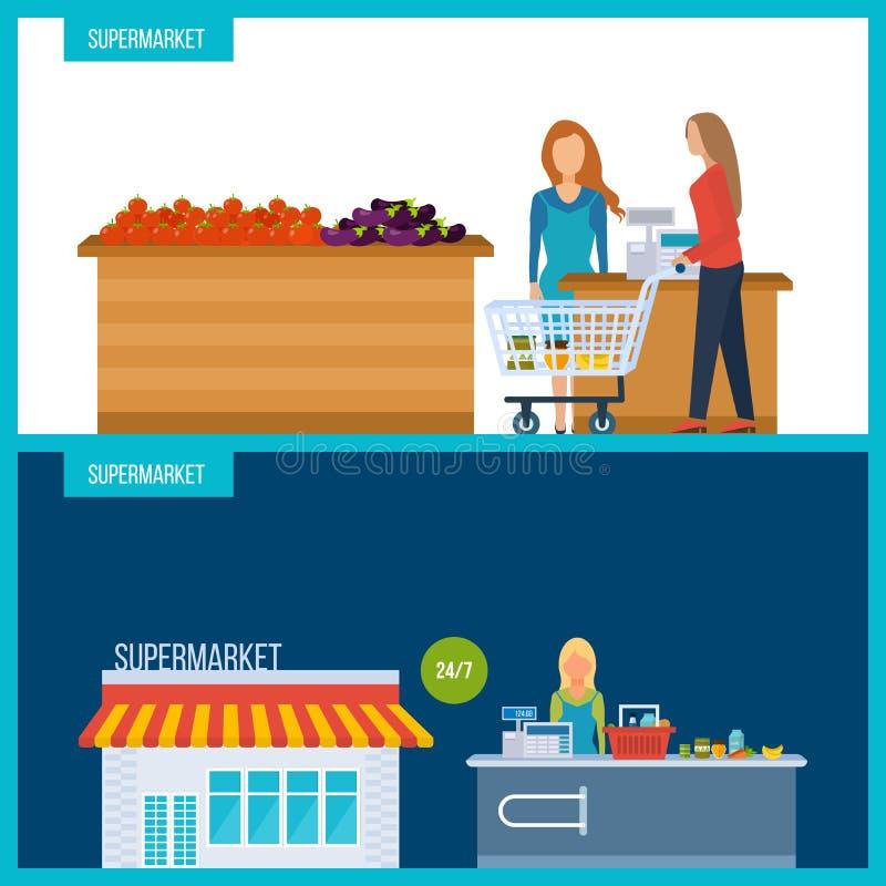 Концепция магазина супермаркета с ассортиментом еды Бакалея магазина иллюстрация вектора