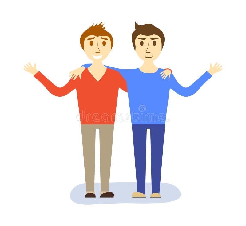 Концепция 2 мальчиков парней, иллюстрация приятельства вектора запаса иллюстрация штока