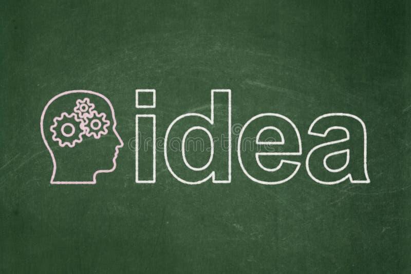 Концепция маркетинга: Возглавьте с шестернями и идеей на предпосылке доски стоковые фото