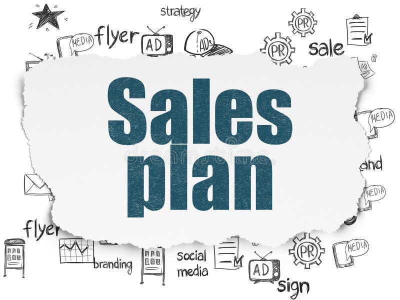 Концепция маркетинга: План продаж на сорванной бумажной предпосылке иллюстрация штока