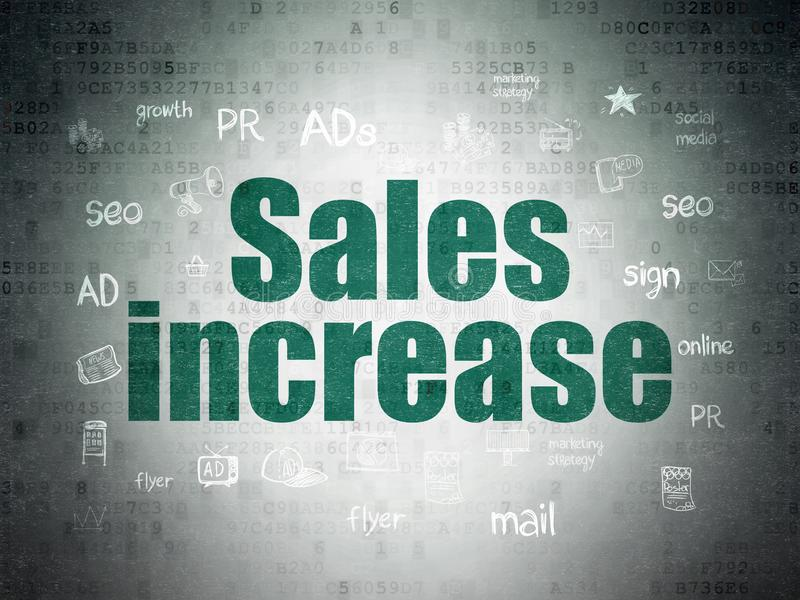 Концепция маркетинга: Увеличение продаж на предпосылке бумаги цифровых данных иллюстрация штока