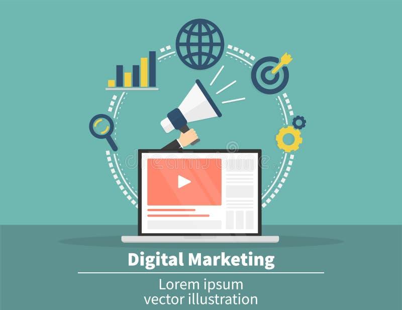 Концепция маркетинга цифров Социальная связь системы и средств массовой информации SEO, SEM и продвижение и стратегия бизнеса бесплатная иллюстрация