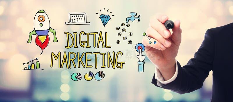 Концепция маркетинга цифров с бизнесменом стоковое изображение rf