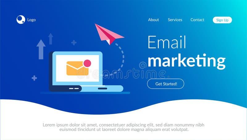Концепция маркетинга электронной почты Новые близкие воздушные судн письма и бумаги на предпосылке ноутбука Уведомление по электр бесплатная иллюстрация