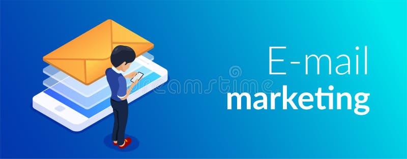 Концепция маркетинга электронной почты равновеликая Получающ или отправляющ письмо используя мобильный телефон Человек со смартфо бесплатная иллюстрация