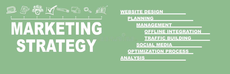 Концепция маркетинговой стратегии Ключевые слова и значки иллюстрация вектора