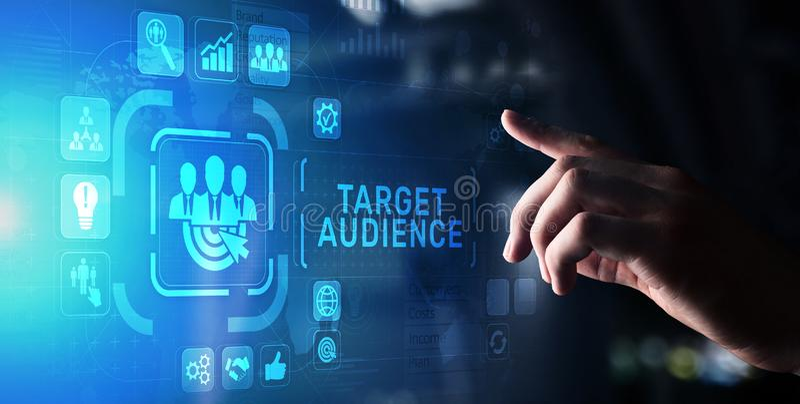 Концепция маркетинговой стратегии сегментации клиента потенциальной аудитории на виртуальном экране бесплатная иллюстрация