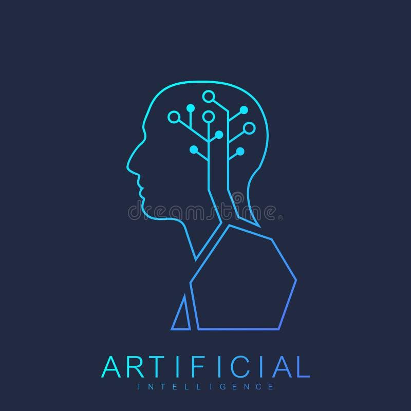 Концепция машинного обучения логотипа искусственного интеллекта человеческая Искусственный интеллект значка вектора, логотип, сим бесплатная иллюстрация