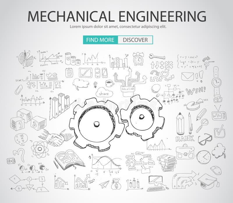 Концепция машиностроения с стилем дизайна Doodle бесплатная иллюстрация